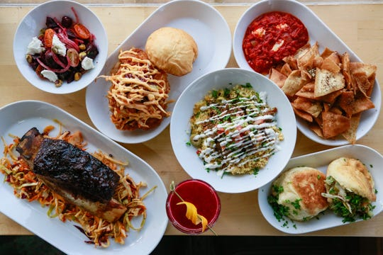 A spread of the Moroccan-inspired cuisine from Saffron De Twah in Detroit.