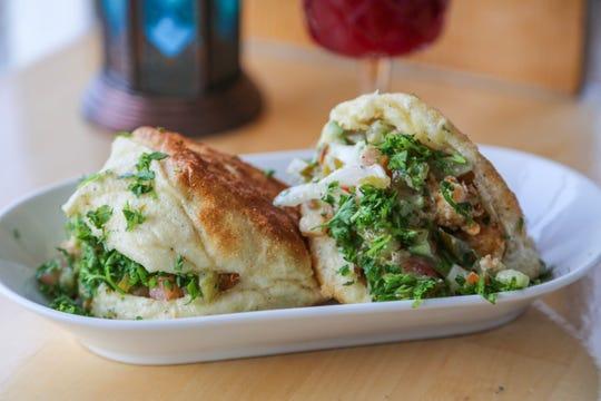 The cauliflower shawarma batbout sandwich from Saffron De Twah is vegan.