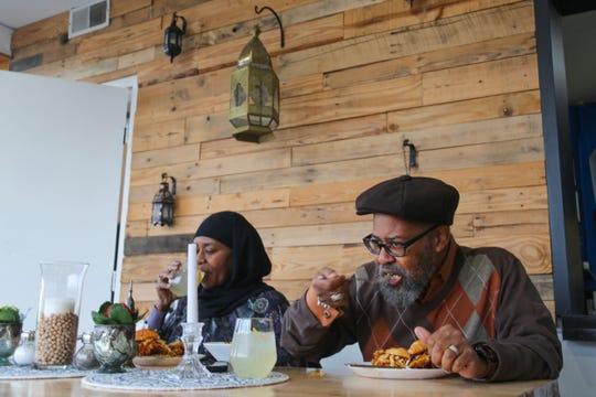 Nafeesa & Rafiq Mahdi enjoy an early dinner at Saffron De Twah, a small Moroccan restaurant on Detroit's east side.