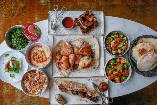 A spread of food from Leila, an upscale Lebanese restaurant in Detroit's Capitol Park.