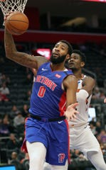 Andre Drummond rebounds against the Suns on Wednesday.