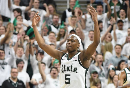 Cassius Winston makes a basket during MSU's win over Michigan in January.