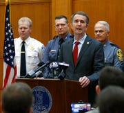 In this Wednesday, Jan. 15, 2020 file photo, Gov. Ralph Northam talks about security plans during a news conference at the Patrick Henry Building in Richmond, Va.