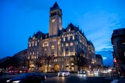 In this Jan. 23, 2019, file photo, the Trump International Hotel near sunset in Washington.