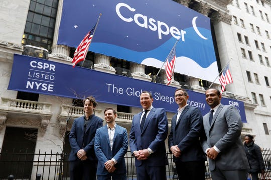 Co-founders of sleep product company Casper: Luke Sherwin, Gabe Flateman, CEO Philip Krim, Jeff Chapin and Neil Parikh, left to right, pose for a photo outside of the New York Stock Exchange, before their IPO, Thursday, Feb. 6, 2020.