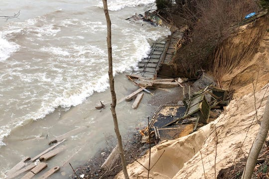 In this Jan. 14, 2020, photo, washed up debris accumulates on the beach in Fennville, Mich.
