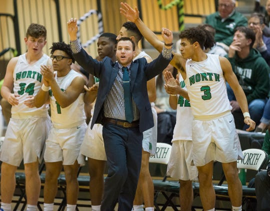 North Head Coach Jason Roach during the North Huskies vs North Posey Vikings game at North High School Wednesday evening, Feb. 5. 2020.