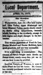 Local news in the Fond du Lac Commonwealth in 1875 was largely limited to a column of sentences or small announcements. Pictured is the top of that column from April 14.