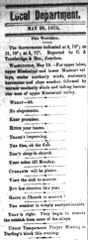 Local news in the Fond du Lac Commonwealth in 1875 was largely limited to a column of sentences or small announcements. Pictured is the top of that column from May 29.