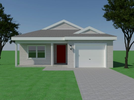 An elevation drawing shows one of two designs for Habitat for Humanity's planned community called Heritage Heights consisting of 150 three- and four-bedroom single family homes in Lee County. The project broke ground on the 24-acre site Friday. The first 12 homes are scheduled to be completed in FY 2021.