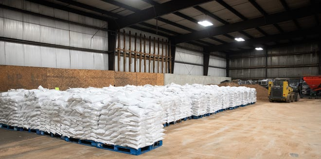 Filled sandbags sit on pallets at the County Recycling Center in Oconto on Friday.