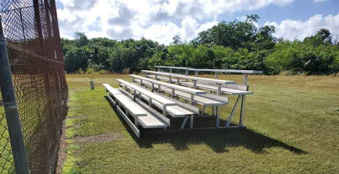 Guam Amateur Baseball, with assistance from the Department of Public Works and the Guam Port Authority, procured and delivered two sets of 45-seat aluminum bleachers to Okkodo High.
