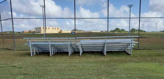 These two bleachers, set up behind Okkodo High School's baseball field, can seat 45 spectators each. The Guam Amateur Baseball Association led a handful of private businesses and government agencies in getting the aluminum seats on site and safely installed.