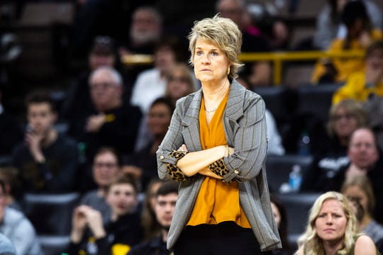 Iowa head coach Lisa Bluder looks on during a NCAA Big Ten Conference women's basketball game, Thursday, Feb. 6, 2020, at Carver-Hawkeye Arena in Iowa City, Iowa.