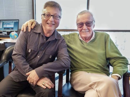 Michael Uslan, left, visits with Marvel Comics icon Stan Lee (1922-2018).