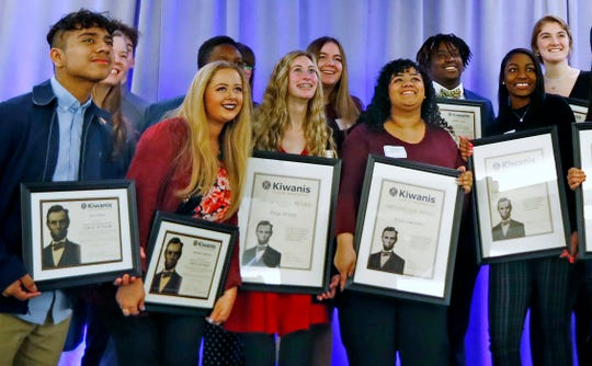 Some of the award recipients pose for photos after the Abe Lincoln Awards ceremony at the Ivy Tech Culinary and Conference Center, Friday, Feb. 7, 2020.
