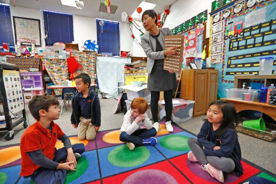 Wenjie Lyu teaches kindergartners in Chinese immersion class at the International School of Indiana lower school, Monday, Feb. 3, 2020. The school offers foreign language immersion classes.