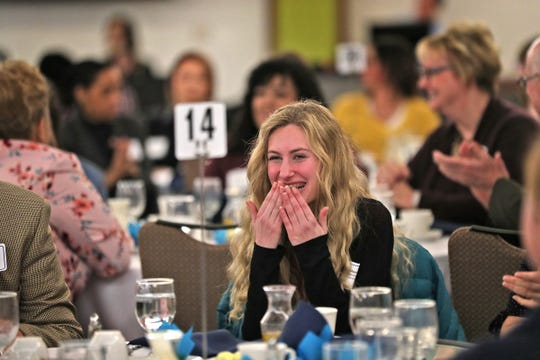 Paige Moore, from Roncalli High School, is elated to learn she has won the top award during the Abe Lincoln Awards ceremony at the Ivy Tech Culinary and Conference Center, Friday, Feb. 7, 2020.
