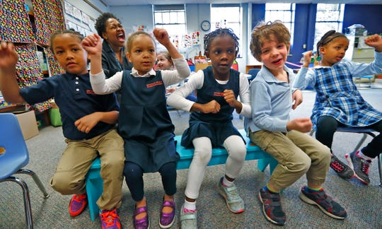 Kids speak French in their kindergarten class at the International School of Indiana lower school, Monday, Feb. 3, 2020. The school offers foreign language immersion classes.