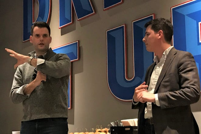 State Sen. Zach Wahls, D-Coralville, and State Rep. Joe Mitchell, R-Mount Pleasant, talk about the Iowa Future Caucus' work to find arenas of collaboration across party lines in the Legislature on Thursday, Feb. 6, 2020.