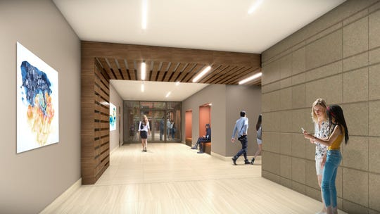 A rendering of the Harold's Square lobby.
