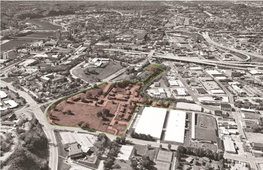 This aerial view shows the 23-acre Austin Homes area of East Knoxville. The revitalized site will offer increased housing options, and will remain an affordable housing community. 2019.