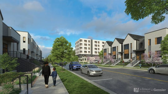 """This Johnson Architecture/Gensler rendering of the Austin Homes neighborhood revitalization project illustrates the """"vibrant urban community"""" envisioned by residents and stakeholders. Jan. 2020."""