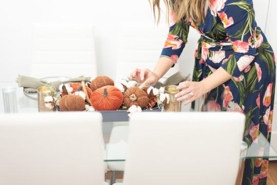 """A small intimate thanksgiving table setting by Jennifer Dukes of Knox Occasions at photographer Morgan Hayley's studio on Aug. 24, 2019. """"I studied psychology and photography, although psychology tends to run into everything I do now,"""" said Dukes who made the career change after her children started school."""