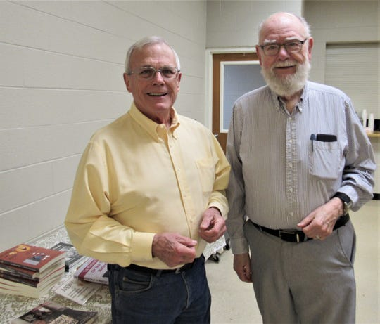 """Old friends Sam Venable and Walter Lambert caught up with each other at the AGT meeting on Feb. 6. Venable's father, """"Big Sam,"""" was once Lambert's Scoutmaster. 2/6/20"""