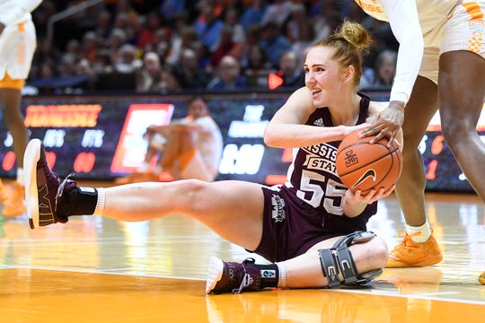 Mississippi State forward Chloe Bibby (55) gains possession of the ball during a NCAA basketball game between Tennessee and Mississippi State, at Thompson-Boling Arena on Thursday, Feb. 6, 2020.
