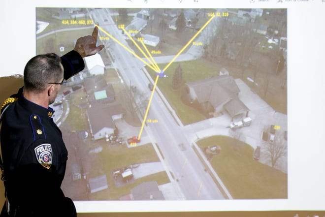 Lafayette Police Deputy Chief Brad Bishop points out the location of police officers during a press conference to present the factual circumstances surrounding surrounding the officer involved shooting that took place on Jan. 20th that resulted in the death of Dustin Furr, Friday, Feb. 7, 2020 in Lafayette.