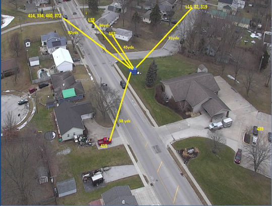 An aerial view of the Jan. 20, 2020 shooting in Lafayette, with yellow lines signifying the officers on 23rd and State Streets and distance from the victim, who is covered by the blue tent.