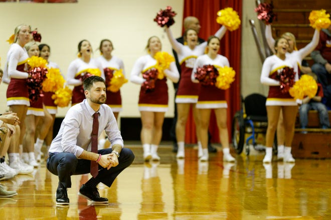 McCutcheon head coach Tyler Scherer watches the free throw line during the fourth quarter of an IHSAA boys basketball game, Thursday, Feb. 6, 2020 in Lafayette.