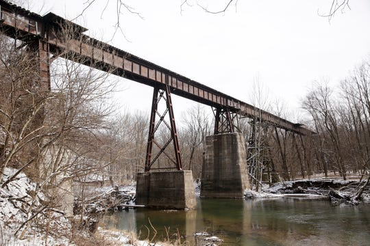 Deer creek flows under the Monon High Bridge, Friday, Feb. 7, 2020 in Delphi. Abby Williams and Libby German, both Delphi eighth-graders, were murdered while hiking a popular community trail near Delphi on Feb. 13, 2017.