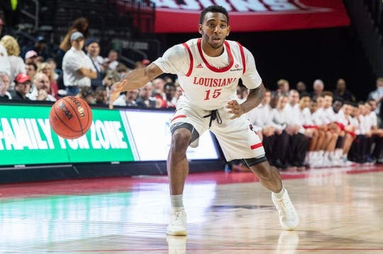 P.J. Hardy, shown passing the ball here in UL's win over Georgia State on Thursday night, is one of the Ragin' Cajuns coach Bob Marlin feels us due for a hot shooting night.