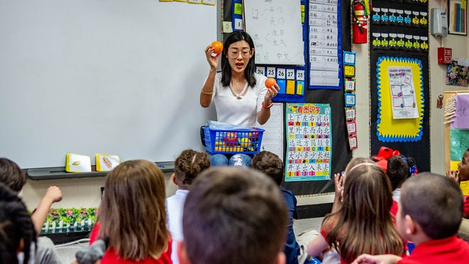 Zhaoting Xia, a kindergarten Chinese immersion teacher, teaches how to buy food in Chinese during class at Cpl. Michael Middlebrook Elementary Wednesday, Feb. 5, 2020.