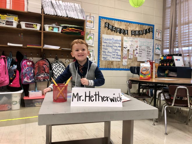 Thirty-six students at Broadmoor Elementary got to be teachers and principal for a day Friday, Feb. 7, 2020. Sam Hetherwick, 5, had his own desk as Teacher for a Day in his kindergarten class.