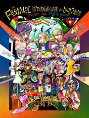 """""""The different nationalities of people, music, stage settings, interesting instruments, flags and streetwalkers all had a hand in the design of the artwork,"""" Tommy Hughes, 2020 Festival International pin and poster artist, said."""