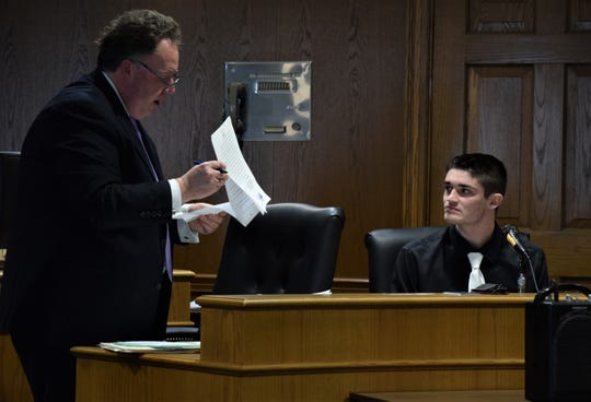 Jason Price, left, addresses the courtroom on behalf of his client, Darren Harvey, right, during Harvey's sentencing hearing Feb. 7 in front of Fairfield County Common Pleas Court Judge Richard Berens. Harvey was sentenced to five years of community control after he pleaded guilty to one count of unlawful sexual conduct with a minor, a first-degree misdemeanor; and three counts of possession of criminal tools, each a fifth-degree felony.