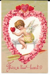 This valentine was mailed in 1910 from a person in Bremen to her cousin in Lancaster. The postcard was printed in Germany and was mailed with a one cent stamp.