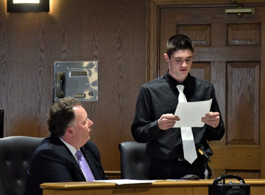 Darren Harvey, right, reads a prepared statement to the court during his sentencing hearing Feb. 7 in front of Fairfield County Common Pleas Court Judge Richard Berens. Harvey was sentenced to five years of community control after he pleaded guilty to one count of unlawful sexual conduct with a minor, a first-degree misdemeanor; and three counts of possession of criminal tools, each a fifth-degree felony.
