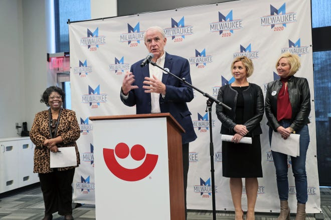 During a news conference, Milwaukee Mayor Tom Barrett spoke about the welcome event to be held on the Summerfest grounds for delegates and their guests on Sunday, July 12.