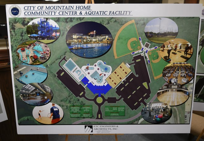 This combined community center, aquatic facility and outdoor water park could be built in Mountain Home's McCabe Park. Although two ball fields are shown on this mock up, they are not included in the design that was discussed by the Mountain Home City Council earlier this month.