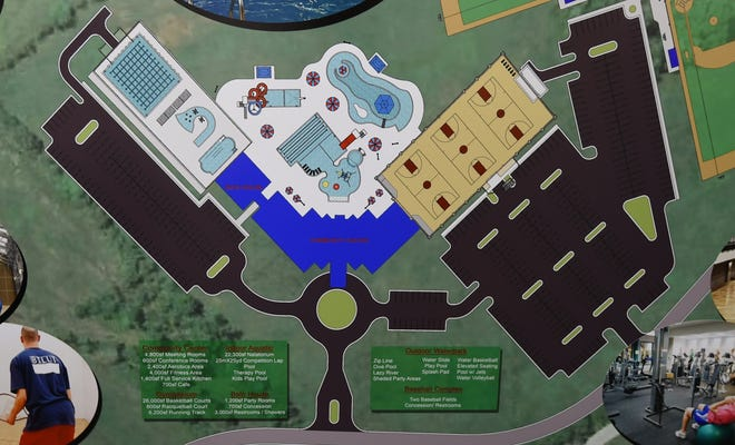 This mock-up prepared by ETC Engineers & Architects shows what a potential Mountain Home community center, aquatic facility and outdoor water park could look like.