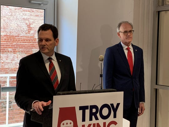 Congressional candidate Troy King, a former Alabama attorney general, speaks at a press conference with former U.S. Attorney Bill Nettles at a press conference on Feb. 7, 2020.