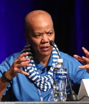 """Mary """"Beanie"""" Secrest was one of eight African American MTSU former student-athletes that spoke and were honored during a public forum at the school's Student Union Building ballroom for being True Blue Pioneers, on Thursday, Feb. 6, 2020."""