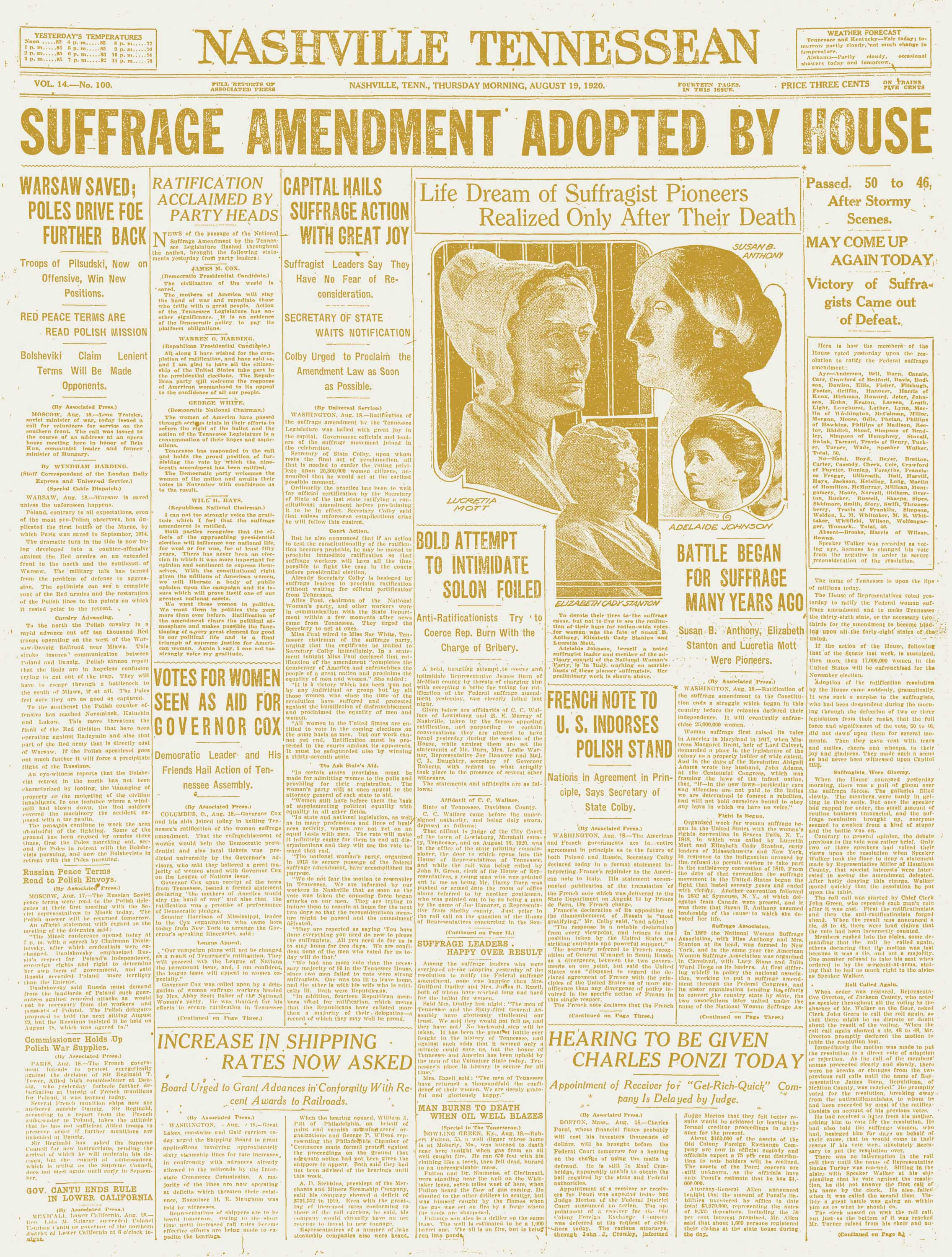 The Tennessean coverage of Tennessee's ratification of the 19th Amendment for women suffrage on Aug. 19, 1920.