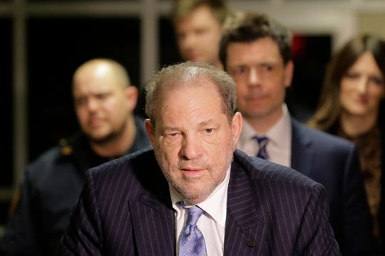 Harvey Weinstein leaves a Manhattan courtroom during his rape trial in New York, Thursday, Feb. 6, 2020.