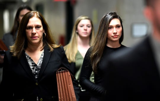 Former Actress Jessica Mann, right, arrives for the trial of Harvey Weinstein at the Manhattan Criminal Court, on January 31, 2020  in New York City.