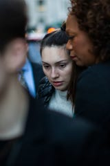 Jessica Mann, center, exits the Manhattan criminal court after testifying against film producer Harvey Weinstein for his sexual assault trial at Manhattan criminal court on February 3, 2020 in New York City.
